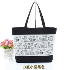Canvas bags bag shopping bag 2017 new Korean students in spring and summer tide simple fashion shoulder - hand Kitten white black - intl