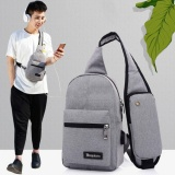Canvas Sling Backpack Usb Rechargeable Chest Pack Casual Messenger Bags(Light Gray) Intl Indonesia Diskon