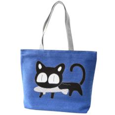 Jual Canvas Tote Bag Handbag Kartun Sekolah Tas Untuk Wanita Wanita Biru Intl Oem Murah