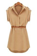 Kualitas Sunweb Topi Kemeja Kasual Lengan Peregangan Kain Baju Sutera Tipis Dengan Gaun Mini Sabuk Berisik International Oem