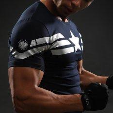 Captain America T Shirt 3D Dicetak T-Kemeja Pria Avengers Iron Man Civil War Tee Cotton Fitness Pakaian Pria CrossFit Tops -Intl