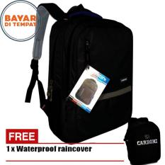 Carboni Backpack Tas Ransel Laptop Mode Casual Urban RA00043 15 - Black Original + Raincover