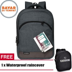 Carboni Backpack Tas Ransel Laptop Seris RA00014 17 - Grey Original + Raincover Waterproop