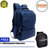 Jual Carboni Backpack Tas Ransel Punggung Nilon Mode Disain Kasual Fungsional Aa00026 15 Blue Original Raincover Trendy