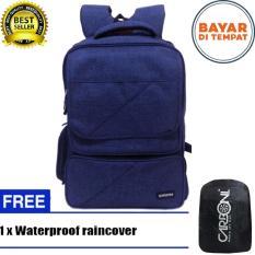 Carboni Backpack Tas Ransel Punggung Nilon Mode Disain Kasual Fungsional AA00026 15 - Blue Original +