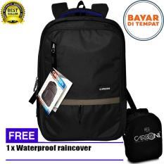 Carboni Backpack Tas Ransel Punggung Nilon Mode Disain Kasual Fungsional RA00043 17- Grey  Original + Raincover Trendy