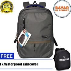 Carboni Backpack Tas Ransel Punggung Nilon Mode Disain Kasual Fungsional  RA00043 17- Grey Original + 5634af5281