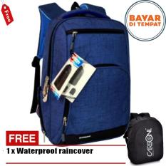 Carboni Tas Ransel Laptop 17 Inchi RA00013 Polyester Serat Sintetis Original - Blue + Raincover
