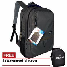 Carboni Tas Ransel Laptop 17 Inchi RA00043 Polyester Serat Kanvas Original - Grey + Raincover