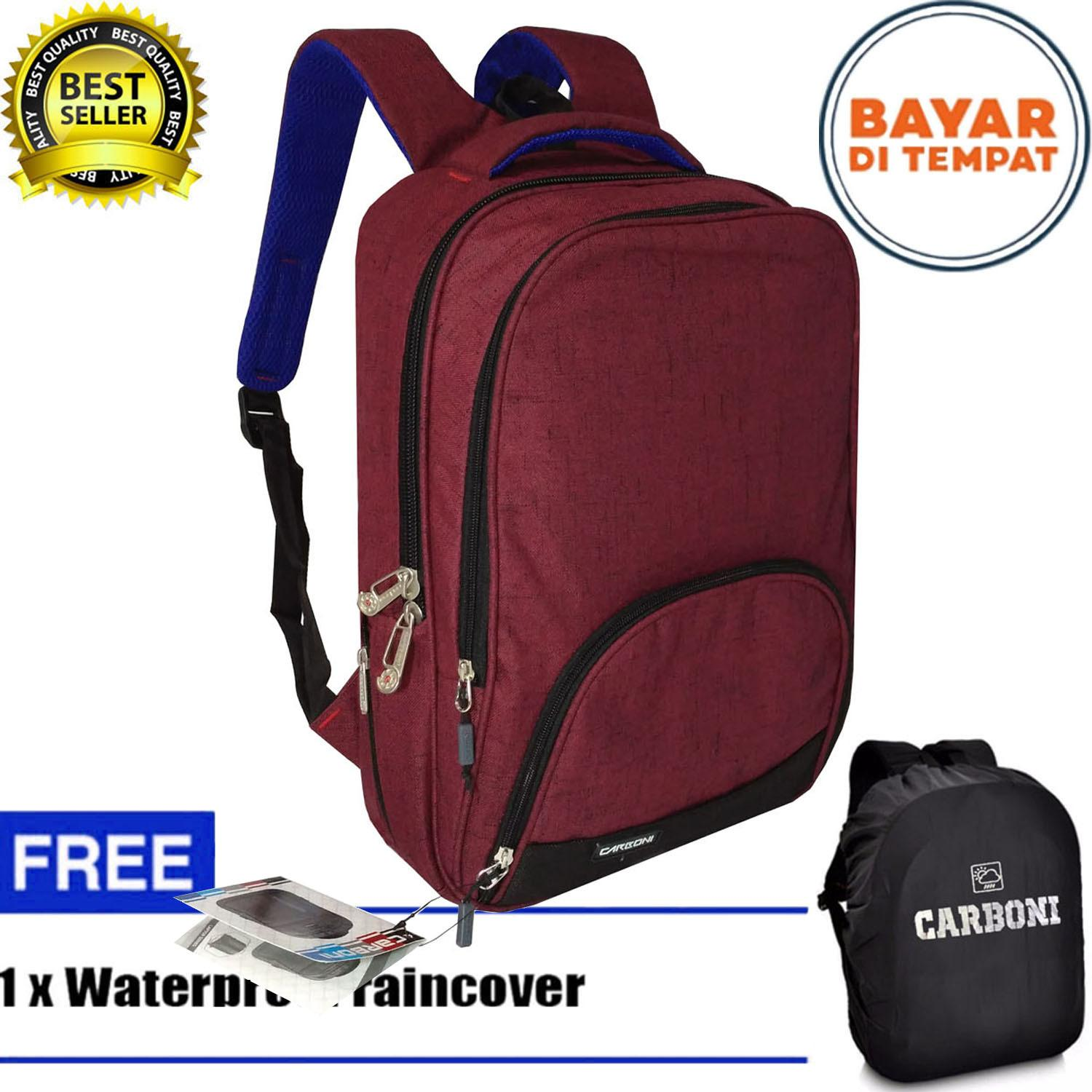 Carboni Tas Ransel Pria 17 Inchi RA 17 Polyester Nylon Waterproof Red Raincover
