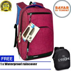 Carboni Tas Ransel Punggung Nilon Mode Korean Kasual Fungsional Ra00013 15 Red Original Raincover Trendy Indonesia Diskon 50