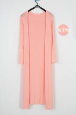 Kardigan Wanita Modal Sangat Panjang Lengan Panjang Model Tipis Versi Korea (Tidak ada gesper panjang jeruk bubuk) baju wanita baju atasan