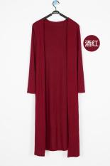 Kardigan Wanita Modal Sangat Panjang Lengan Panjang Model Tipis Versi Korea (Tidak ada gesper panjang merah anggur) baju wanita baju atasan