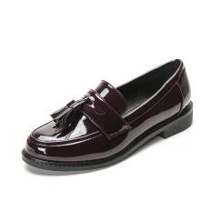 Carrefour Ala Inggris Perempuan Musim Semi Baru Putaran Sepatu Kulit Kecil (Anggur Merah)