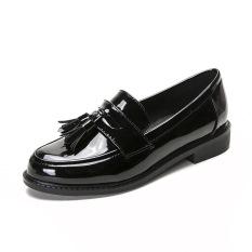 Carrefour Ala Inggris Perempuan Musim Semi Baru Putaran Sepatu Kulit Kecil (Hitam)