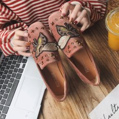 Carrefour Datar Kasual Sepatu Kulit Kacang Sepatu SLIP ON Korea Fashion Style Sepatu Hak Perempuan (Coklat Lebah Model)