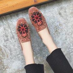 Carrefour Datar Kasual Sepatu Kulit Kacang Sepatu SLIP ON Korea Fashion Style Sepatu Hak Perempuan (Coklat Model Crown)