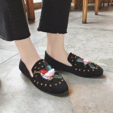 Carrefour Datar Kasual Sepatu Kulit Kacang Sepatu SLIP ON Korea Fashion Style Sepatu Hak Perempuan (Hitam Model Burung)