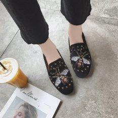 Carrefour Datar Kasual Sepatu Kulit Kacang Sepatu SLIP ON Korea Fashion Style Sepatu Hak Perempuan (Hitam Model Kupu-kupu)
