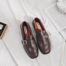 Carrefour Inggris Kulit Paten Awal Musim Semi Baru Sepatu Kulit Kecil Inggris (Kopi)