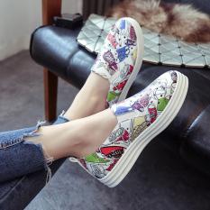 Carrefour sepatu Korea Fashion Style musim semi flat shoes baru sepatu kasual (W668 putih)