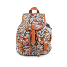 Cartoon Owls Pattern Canvas Backpack School Bags for Teenagers(EXPORT) - Intl - intl
