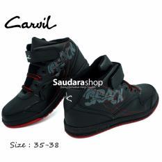 Carvil Crack Sepatu Sekolah Black Red [35-38] / Sepatu Sneacker Sekolah Tinggi Hitam Merah