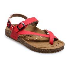 Beli Carvil Khanza 09L Footbed Sandal Wanita Merah Kredit Indonesia