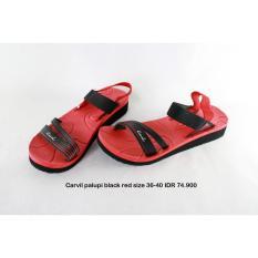carvil palupi sepatu sendal wanita hitam merah