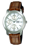 Jual Casio Analog Jam Tangan Pria Coklat Strap Leather Mtp 1192E 7A Original
