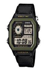 Jual Casio Digital Jam Tangan Pria Hitam Strap Kanvas Ae 1200Whb 1B Murah Di Dki Jakarta