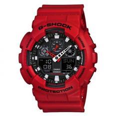 Casio G-SHOCK Laki-laki Merah Damar Tali Pengikat Perhiasan GA-100B-4A