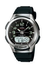 Casio Analog Digital AQ-180W-1BV - Jam Tangan Pria - Black - Resin Band