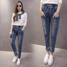 Spek Casual Harlan Jeans Lady Nyaman Elegan Celana Longgar Korea Slim Celana Plus Ukuran Wanita Pakaian Intl