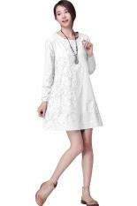 Toko Bordir Lengan Panjang Kasual Wanita Katun Dan Linen Perubahan Musim Gugur Lepas Baju Ukuran M Putih Tiongkok