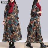 Top 10 Kasual Longgar Lengan Panjang Zanzea Kebesaran Baggy Gaun Robe Vestidos Wanita Vintage Floral Cetak Maxi Long Dress Hijau Intl Online