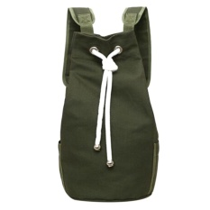 Beli Casual Men Canvas Large Capacity Barrel Backpack Sport Outdoor Backpack Army Green Intl Nyicil