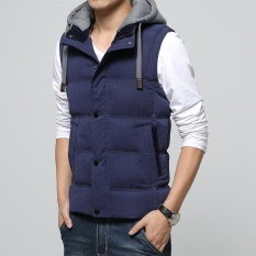 Jual Beli Casual Men Vest Men Slim Fit 2017 Hot Sale Waistcoat Hat Detachable Hooded Winter Warm Windbreak Khaki Men Vest Intl
