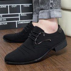 Orangnya Cuek Usaha Menunjuk Toe Sepatu Fashion Canvas Loafers Renda Up Oxfords HITAM-Intl