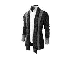 Harga Kasual Pria Lengan Panjang Rajutan Cardigan Sweater Coat Sweater Tops Dark Abu Abu Lengkap