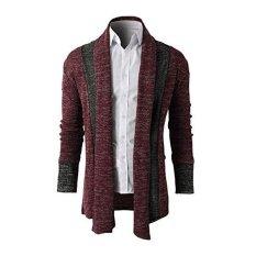 Jual Kasual Pria Lengan Panjang Rajutan Cardigan Sweater Coat Sweater Atasan Merah Anggur Baru