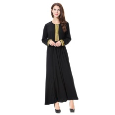Casual Muslim Women Elegant Robe Long Sleeve Maxi Dress Islamic Ladies Abayas with Embroidery