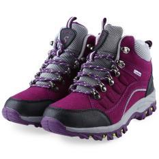 Casual Outdoor Blok Warna Lace Up Ladies Hiking Sepatu Olahraga Ungu Intl Asli