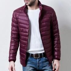 Review Toko Casual Stand Collar Portable Light Down Jaket Untuk Pria Anggur Merah Intl