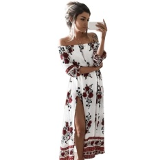 Casual Vintage Musim Panas BoHo Pantai Gaun Leher Hingga Bahu Floral Dicetak Dress-Intl