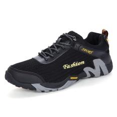 Spesifikasi Casual Wearable Pria Olahraga Bernapas Mesh Permukaan Hiking Sepatu Kets Mode Hitam Intl Murah Berkualitas