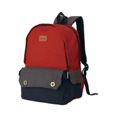 Catenzo Backpack Tas Ransel Canvas Two Tone Color - Merah-Biru