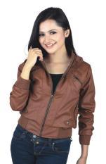 Catenzo DI 035 Jaket Kulit Wanita - bahan oscar - cantik dan menarik (brown)