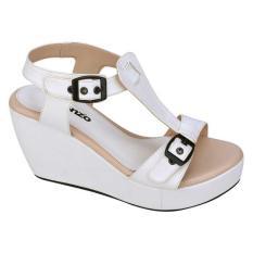 Catenzo JK 531 Sandal Wedges Wanita - bahan sintetis - rubber outsole - 8cm - cantik dan menarik (white)