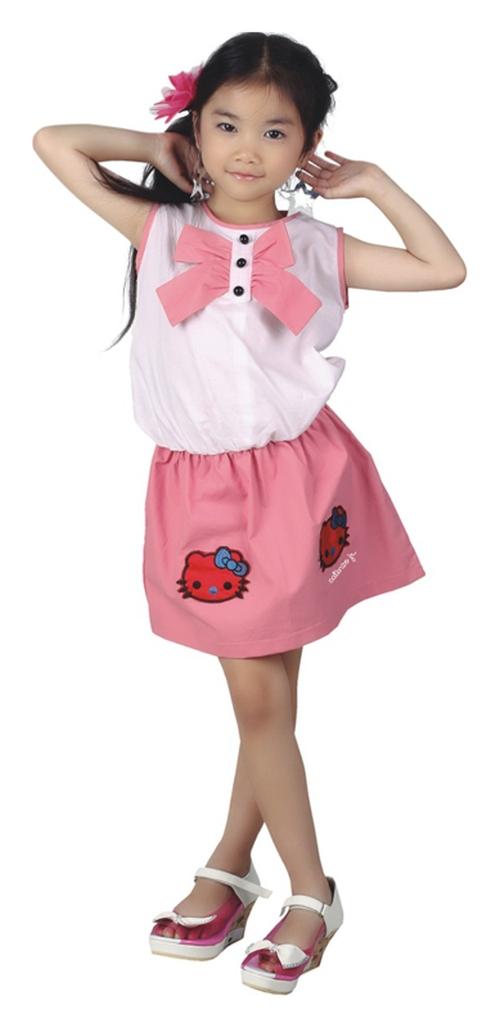 Catenzo Junior Baju Stelan Anak Perempuan Warna Putih Pink Girly